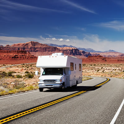 RV rollin' down the road